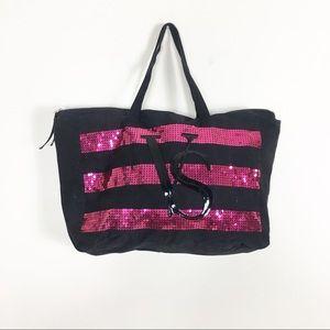 Victoria's Secret Black & Pink Sequins Tote Bag